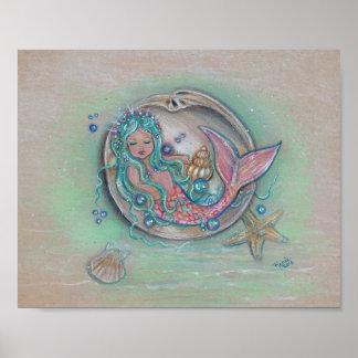 Sleepy little mermaid poster by Renee Lavoie