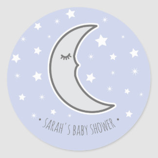 Sleepy Moon Baby shower favour round seal sticker