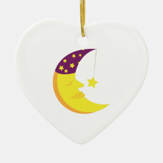 Sleepy Moon Ceramic Ornament