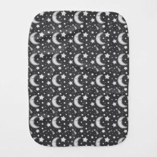 Sleepy Moon - Dark grey baby burb cloth Baby Burp Cloth