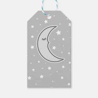 Sleepy Moon grey baby shower favour gift tag