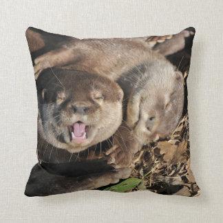 Sleepy otters photo cushion