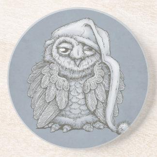 Sleepy Owl Beverage Coasters