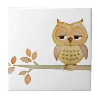 Sleepy Owl in Tree Tile
