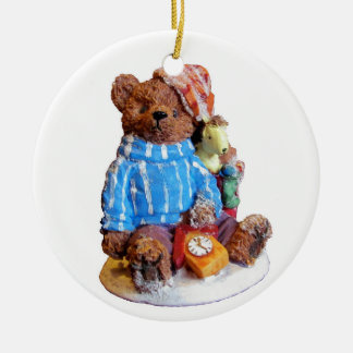 Sleepy Pajama Teddy Bear with Toys Round Ceramic Ornament
