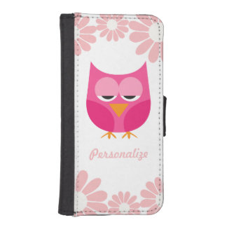 Sleepy Pink Owl and Flowers Personalized