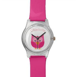 Sleepy Pink Owl Personalized Watch
