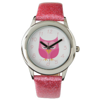 Sleepy Pink Owl With Numbers Watch