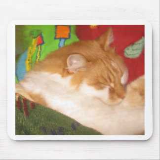 Sleepy Red Cat Mouse Pad