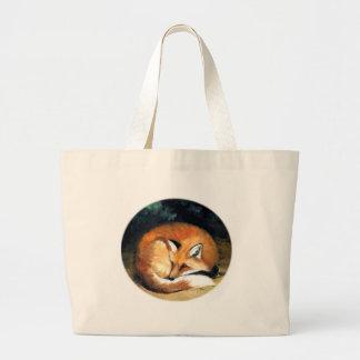 Sleepy Red Fox Animal Art Tote Bag
