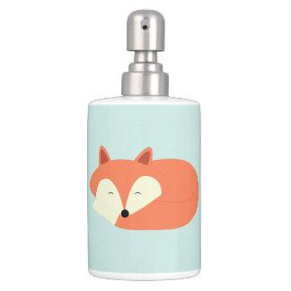 Sleepy Red Fox Soap Dispenser And Toothbrush Holder
