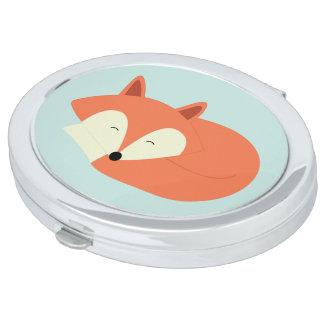 Sleepy Red Fox Travel Mirror