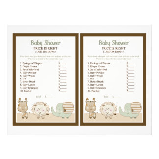 "Sleepy Safari Animals ""What's the Price?""Game 21.5 Cm X 28 Cm Flyer"