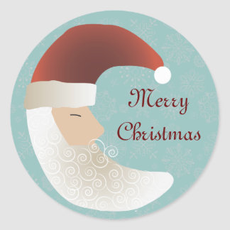 Sleepy Santa Half Moon Christmas Stickers