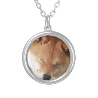 SLEEPY SHIBA SILVER PLATED NECKLACE