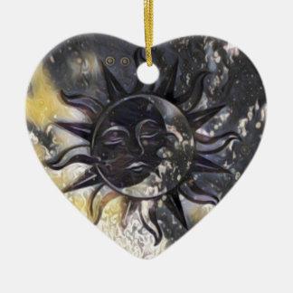 Sleepy Sun Moon Ceramic Ornament