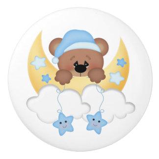 Sleepy Teddy Bear Moon Stars Boy Nursery Ceramic Knob