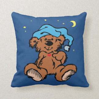 Sleepy Time Bear Moon and Stars Throw Pillow