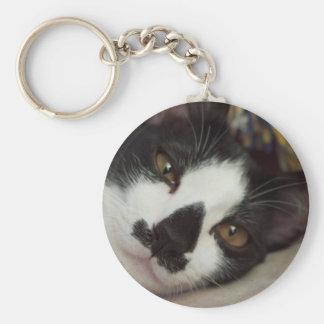 Sleepy Tuxedo Cat Basic Round Button Key Ring