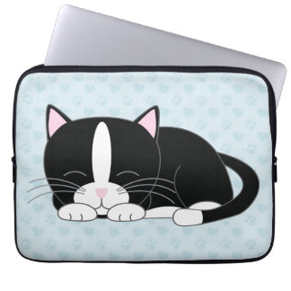 Sleepy Tuxedo Cat {blue} Laptop Sleeve