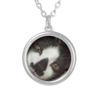 Sleepy Tuxedo Cat Round Pendant Necklace
