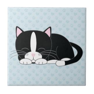 Sleepy Tuxedo Cat Small Square Tile