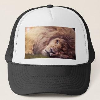 Sleepy white lion trucker hat