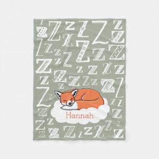 Sleepy Woodland Fox Zzz, Personalized Child's Name Fleece Blanket