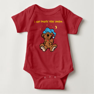 Sleepytime Teddy Bear I Can Bearly Stay Awake Baby Bodysuit