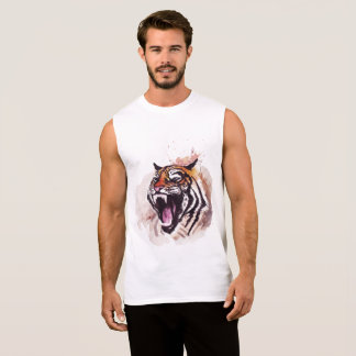 Sleeveless men's t-shirt with to tiger design
