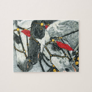 Sleigh Bells RIng - Percheron Horse Team In WInter Jigsaw Puzzle