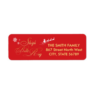 Sleigh Bells Ring Santa Snowflake Red Christmas Return Address Label
