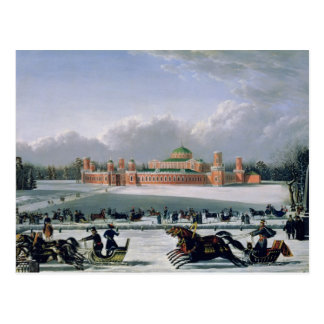 Sleigh Race at the Petrovsky Park in Moscow Postcard