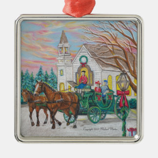 Sleigh Ride Christmas Carriage Metal Ornament