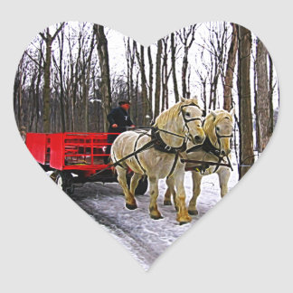 Sleigh Ride in the Snow Collection Heart Sticker