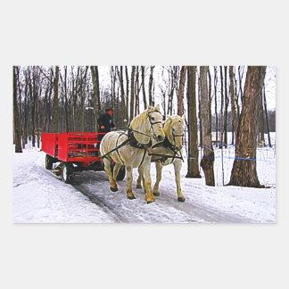 Sleigh Ride in the Snow Collection Rectangular Sticker
