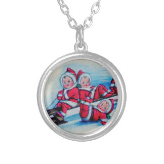 Sleigh Riding Children Silver Plated Necklace