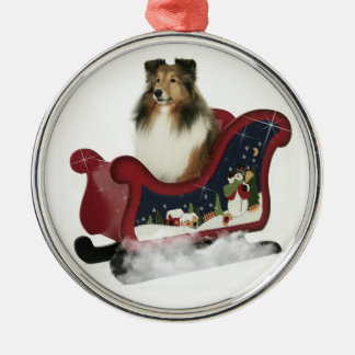 Sleigh Sheltie Metal Ornament