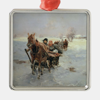Sleighs in a Winter Landscape Silver-Colored Square Decoration