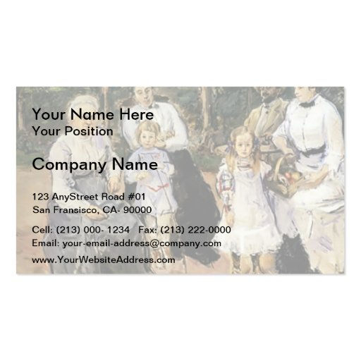 Slevogt family in the garden by Max Slevogt Business Card Templates