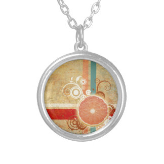 Slice of Citrus Abstract Round Pendant Necklace