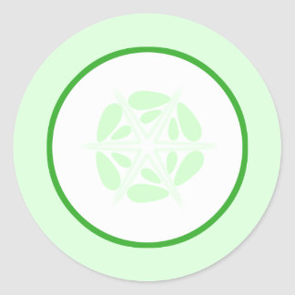 Slice of Cucumber. Green and White. Classic Round Sticker