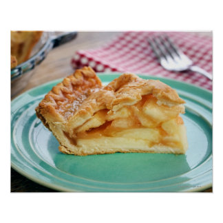 Slice of fresh baked apple pie on plate poster