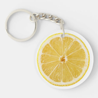 Slice Of Fresh Lemon Single-Sided Round Acrylic Key Ring