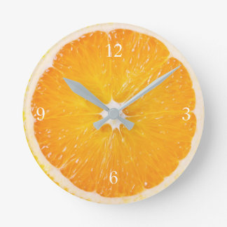 Slice Of Fresh Orange Round Clock