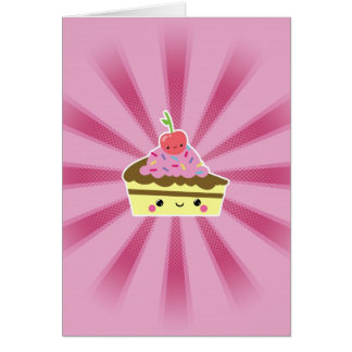 Slice of Kawaii Cake with a Cherry on Top Cards