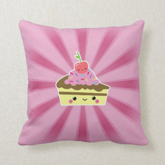 Slice of Kawaii Cake with a Cherry on Top Pillow