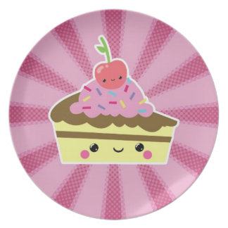 Slice of Kawaii Cake with a Cherry on Top Plate