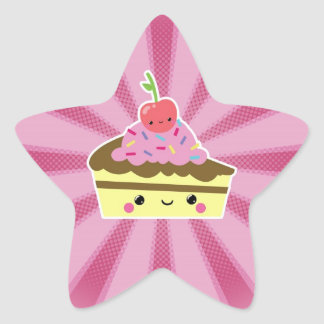 Slice of Kawaii Cake with a Cherry on Top Star Sticker