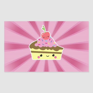 Slice of Kawaii Cake with a Cherry on Top Rectangle Stickers
